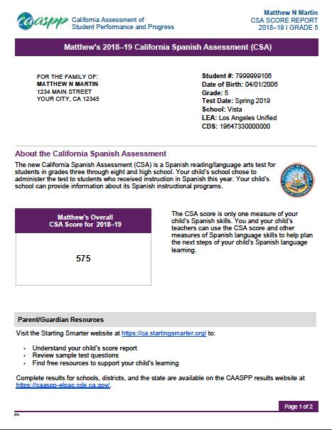 CSA Student Score Report
