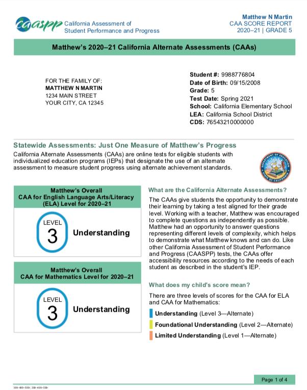 Sample Student Score Report for California Alternate Assessments