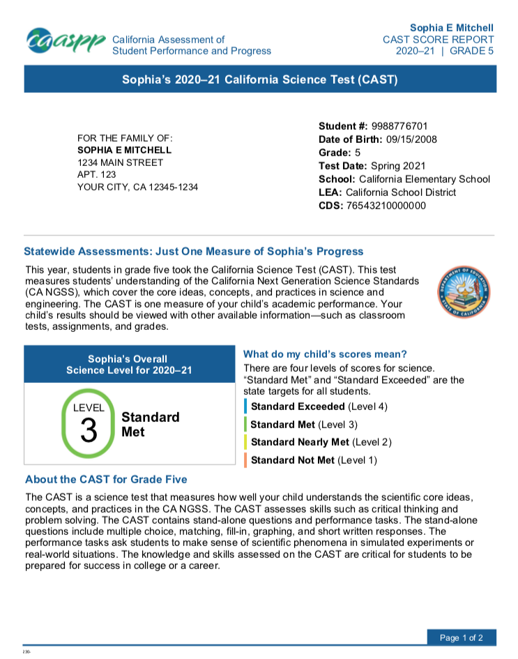Sample Student Score Report for California Science Test