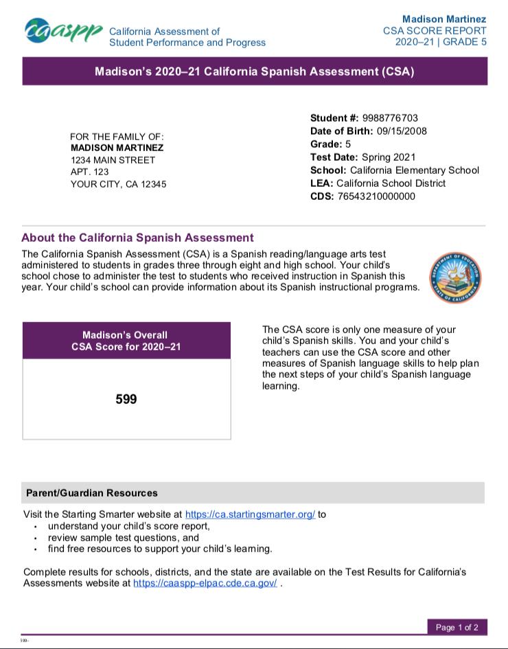 Sample Student Score Report for California Spanish Assessments